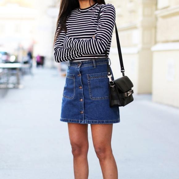 4bd5f8c4bb BDG Dark Indigo Button Up A Line Denim Skirt. M_5b0501d3a825a691c2849f06